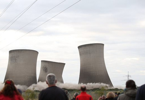 Flying debris from a major demolition job at the disused Didcot power station caused blackouts for thousands of local residents yesterday.
